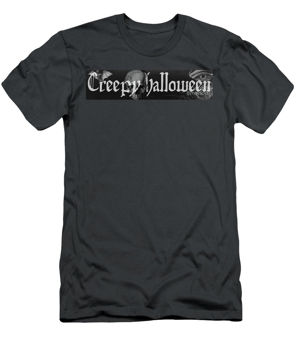 Halloween Men's T-Shirt (Athletic Fit) featuring the painting Creepy Halloween by Mindy Sommers
