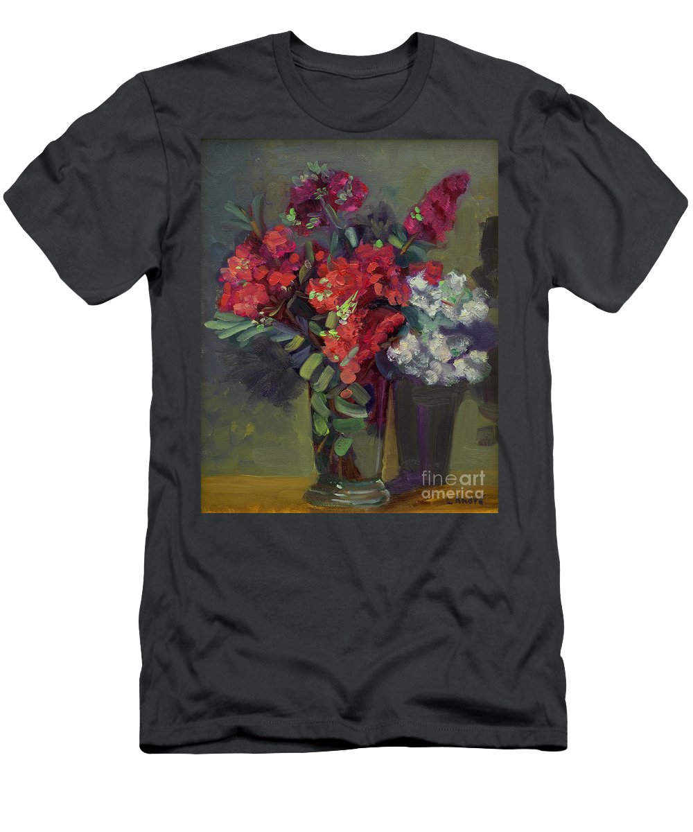 Floral Men's T-Shirt (Athletic Fit) featuring the painting Crepe Myrtles In Glass by Lilibeth Andre