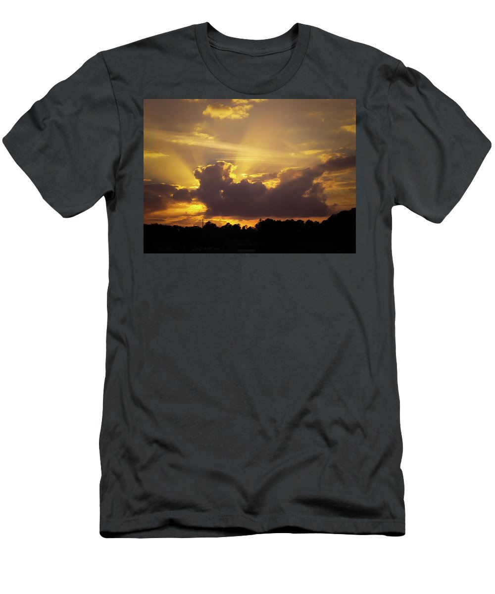 Crepuscular Rays Of Sunlight Men's T-Shirt (Athletic Fit) featuring the photograph Crepuscular Rays Of Sunlight by Zina Stromberg