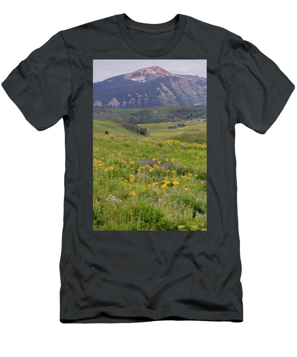 Crested Butte Men's T-Shirt (Athletic Fit) featuring the photograph Crested Butte Valley by Meagan Watson
