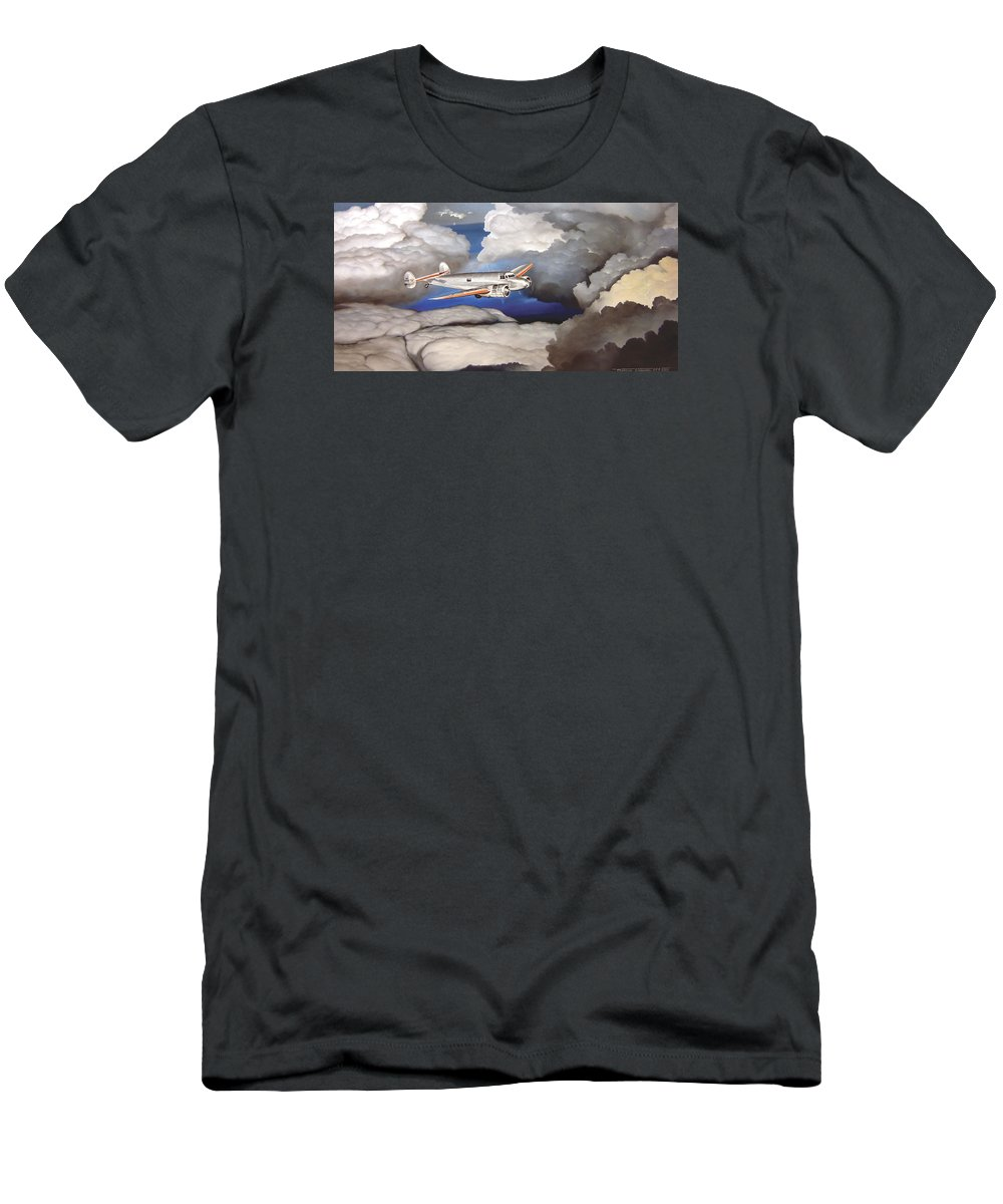 Aviation Men's T-Shirt (Athletic Fit) featuring the painting Crossing Over Amelia Earharts Final Flight by Marc Stewart