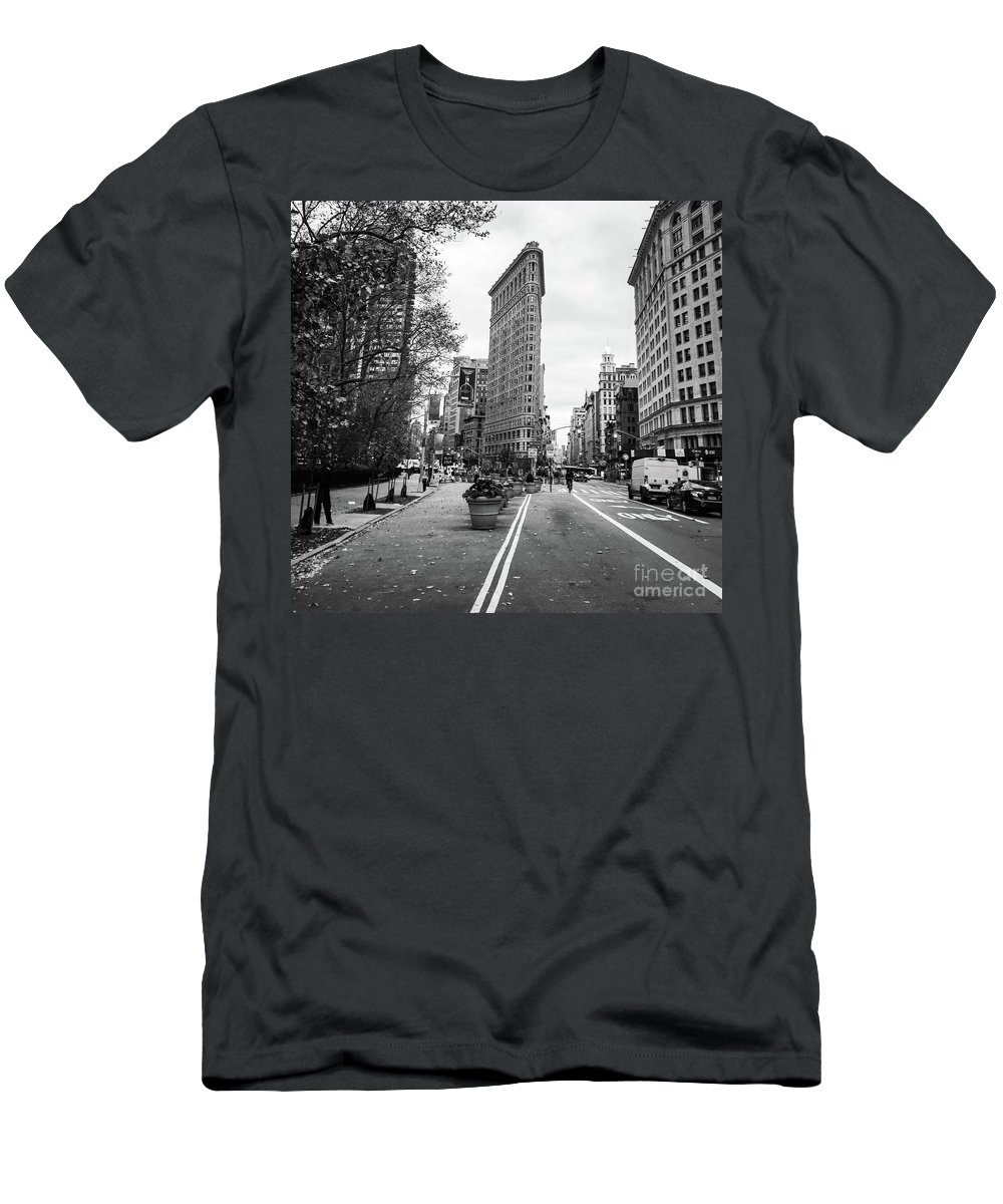 Flat Iron Building Men's T-Shirt (Athletic Fit) featuring the photograph Crossroads by Victory Designs