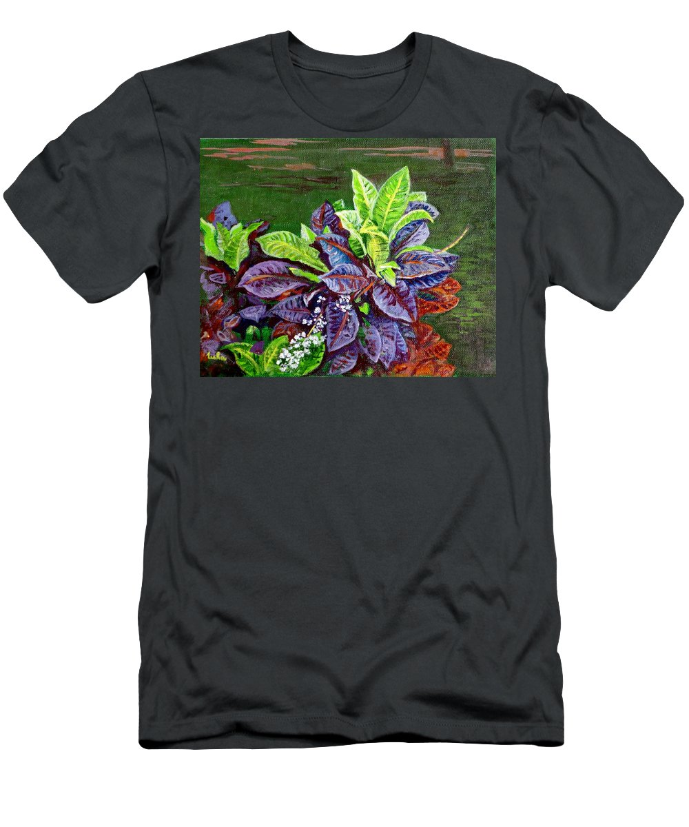 Crotons Men's T-Shirt (Athletic Fit) featuring the painting Crotons 2 by Usha Shantharam