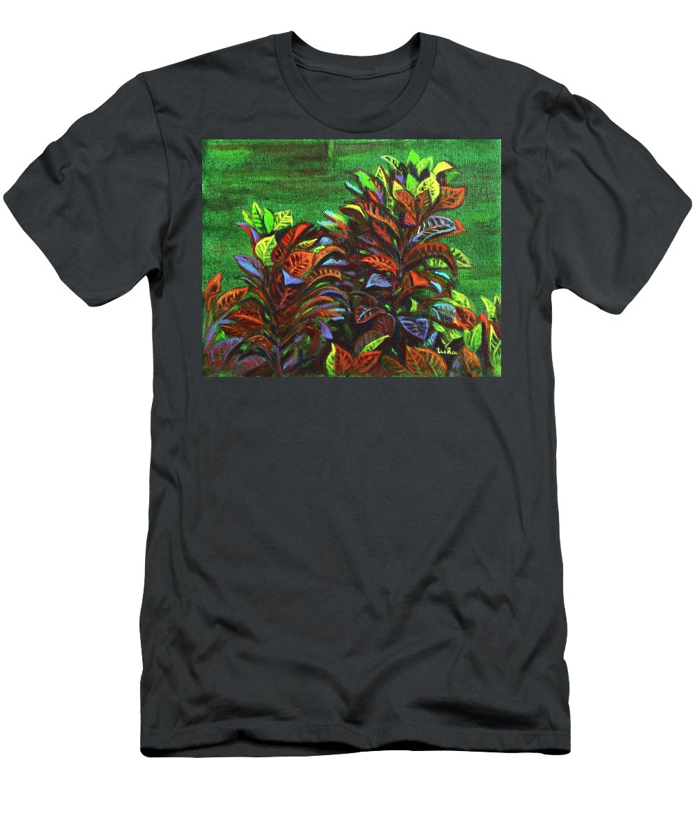 Men's T-Shirt (Athletic Fit) featuring the painting Crotons 6 by Usha Shantharam