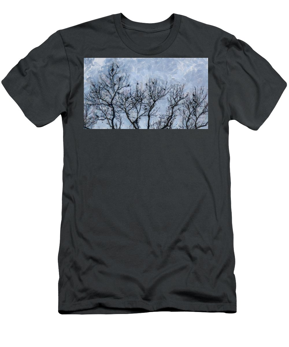 Abstract Men's T-Shirt (Athletic Fit) featuring the painting Crow Counting by D A Diggs