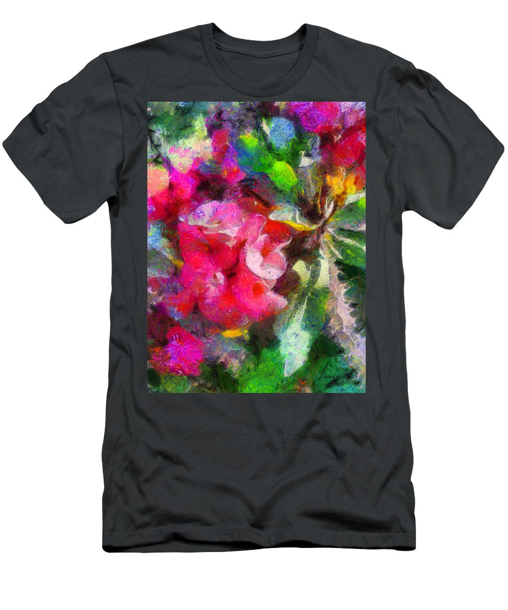 Flower Blooms Blossom Painting Thorns Plant Flora Botanical Botany Growing Tropical Tropic Men's T-Shirt (Athletic Fit) featuring the digital art Crown Of Thorns by Francesa Miller