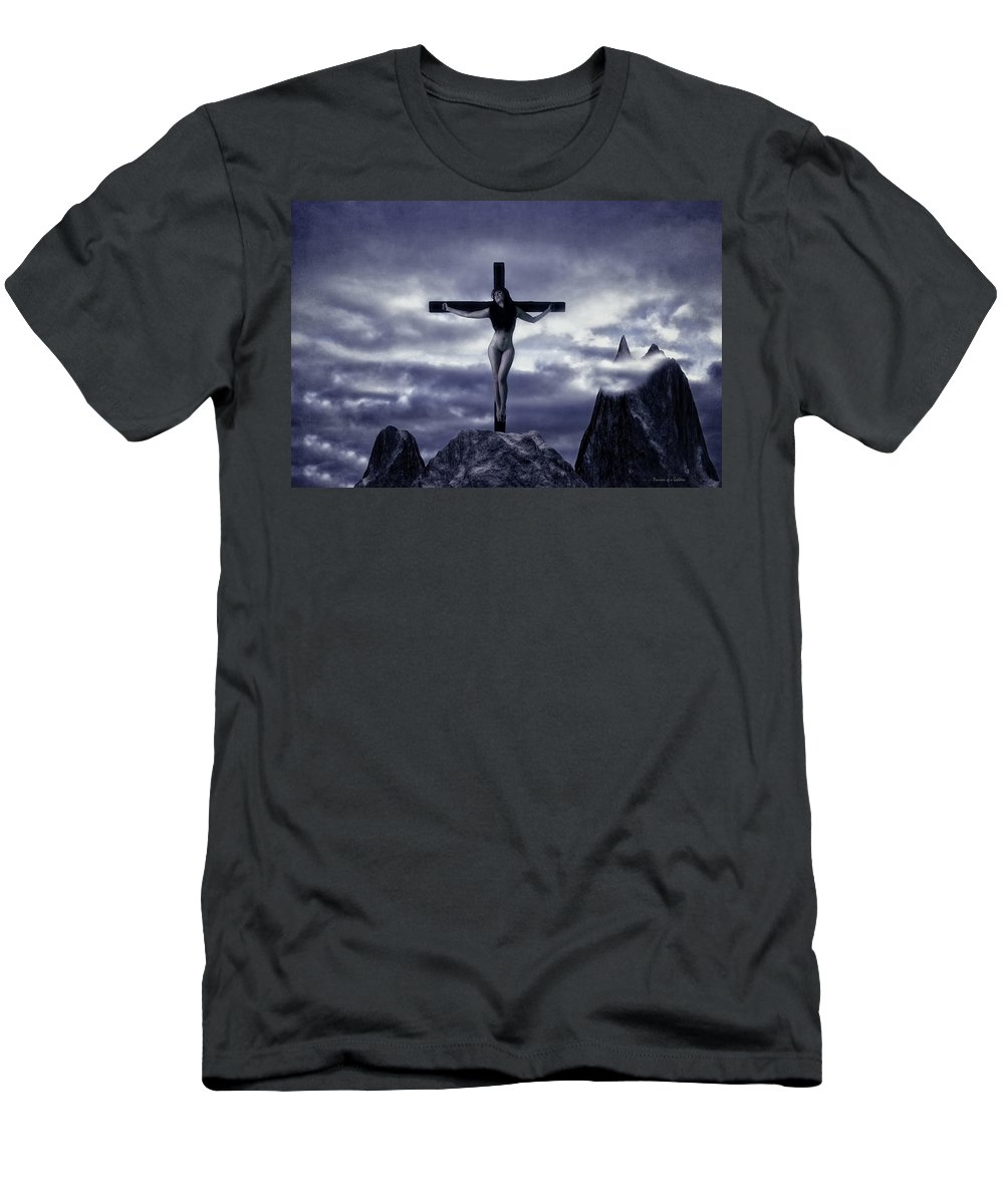 Crucifixion Men's T-Shirt (Athletic Fit) featuring the photograph Crucifixion On The Mountain by Ramon Martinez