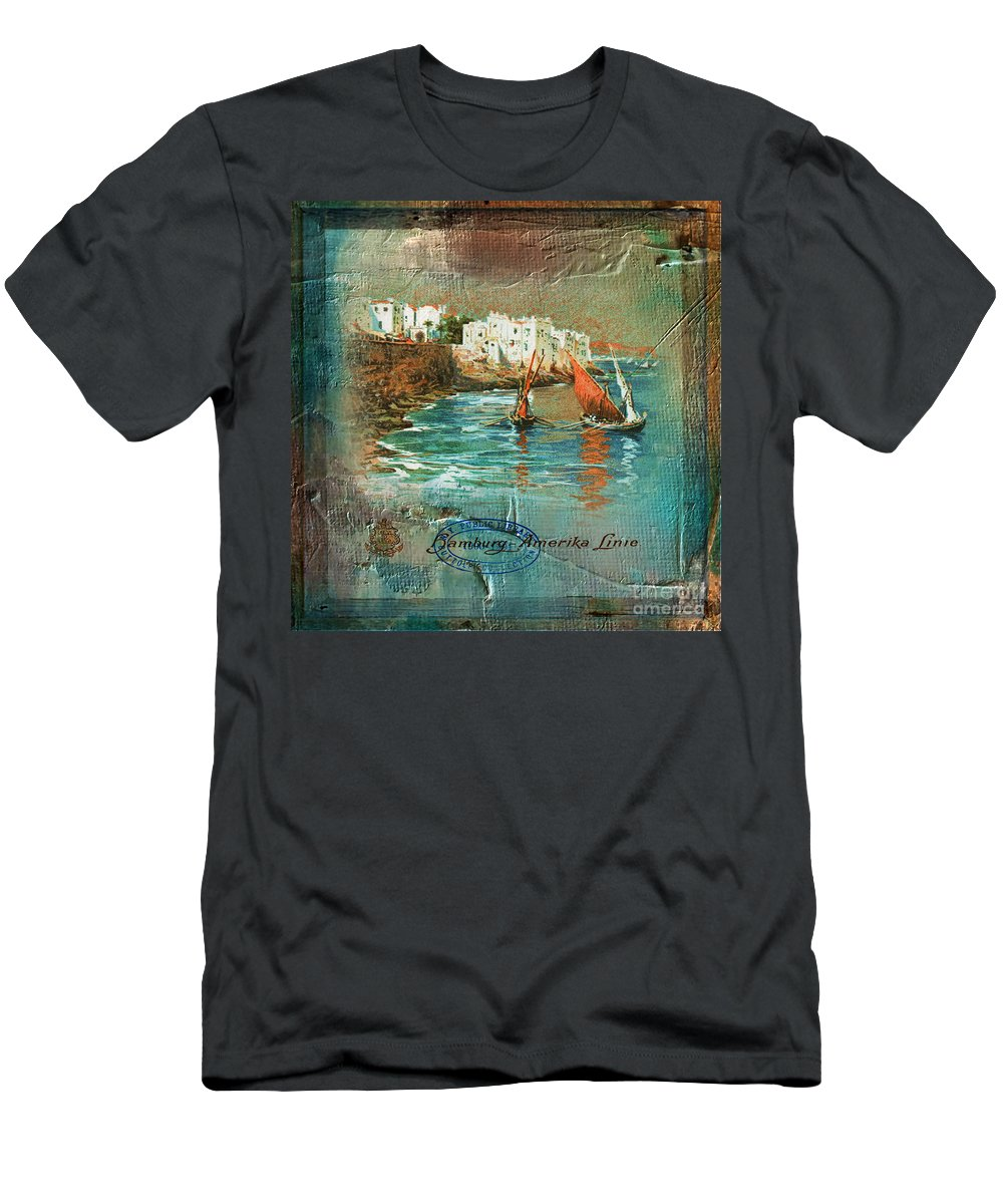Boats Men's T-Shirt (Athletic Fit) featuring the digital art Cruise Dinner Menu 2016 by Kathryn Strick
