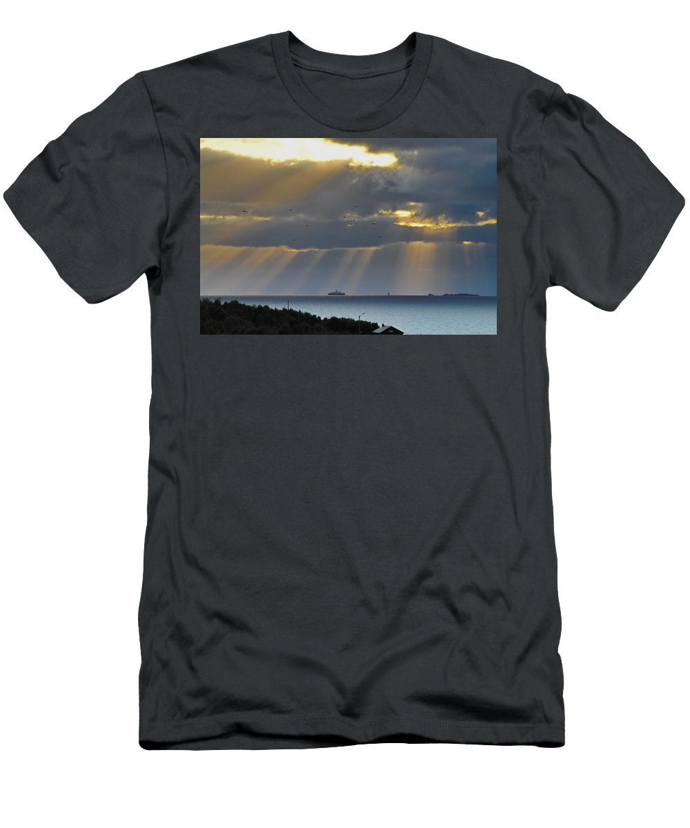 Landscape Men's T-Shirt (Athletic Fit) featuring the photograph Cruise Ship Passing An Island As Sunrays Shine Through Clouds by Ulrich Kunst And Bettina Scheidulin