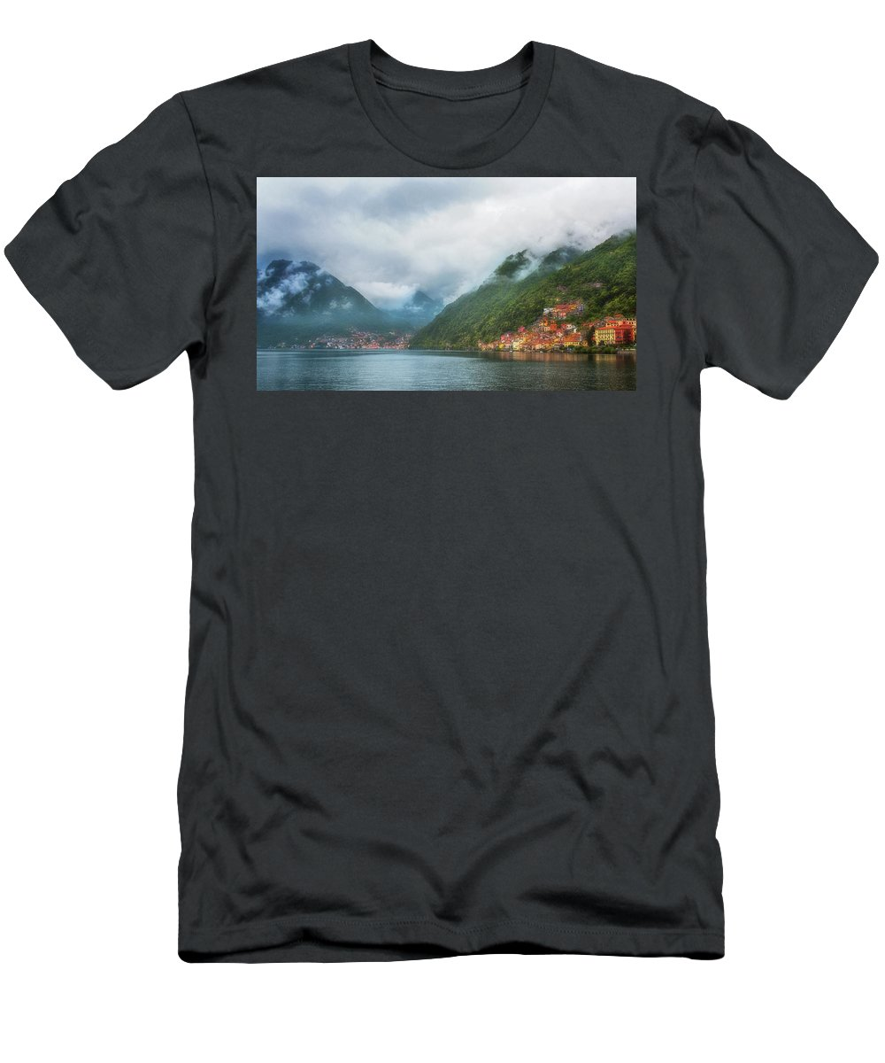 Joan Carroll Men's T-Shirt (Athletic Fit) featuring the photograph Cruising Lake Como Italy by Joan Carroll
