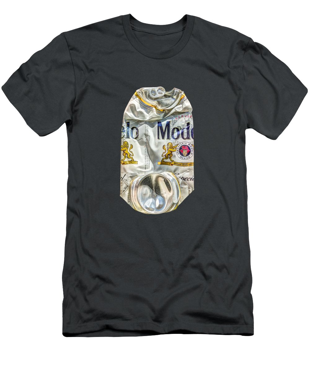 Beer Can T-Shirt featuring the photograph Crushed Beer Can Especial on BW Plywood 82 by YoPedro