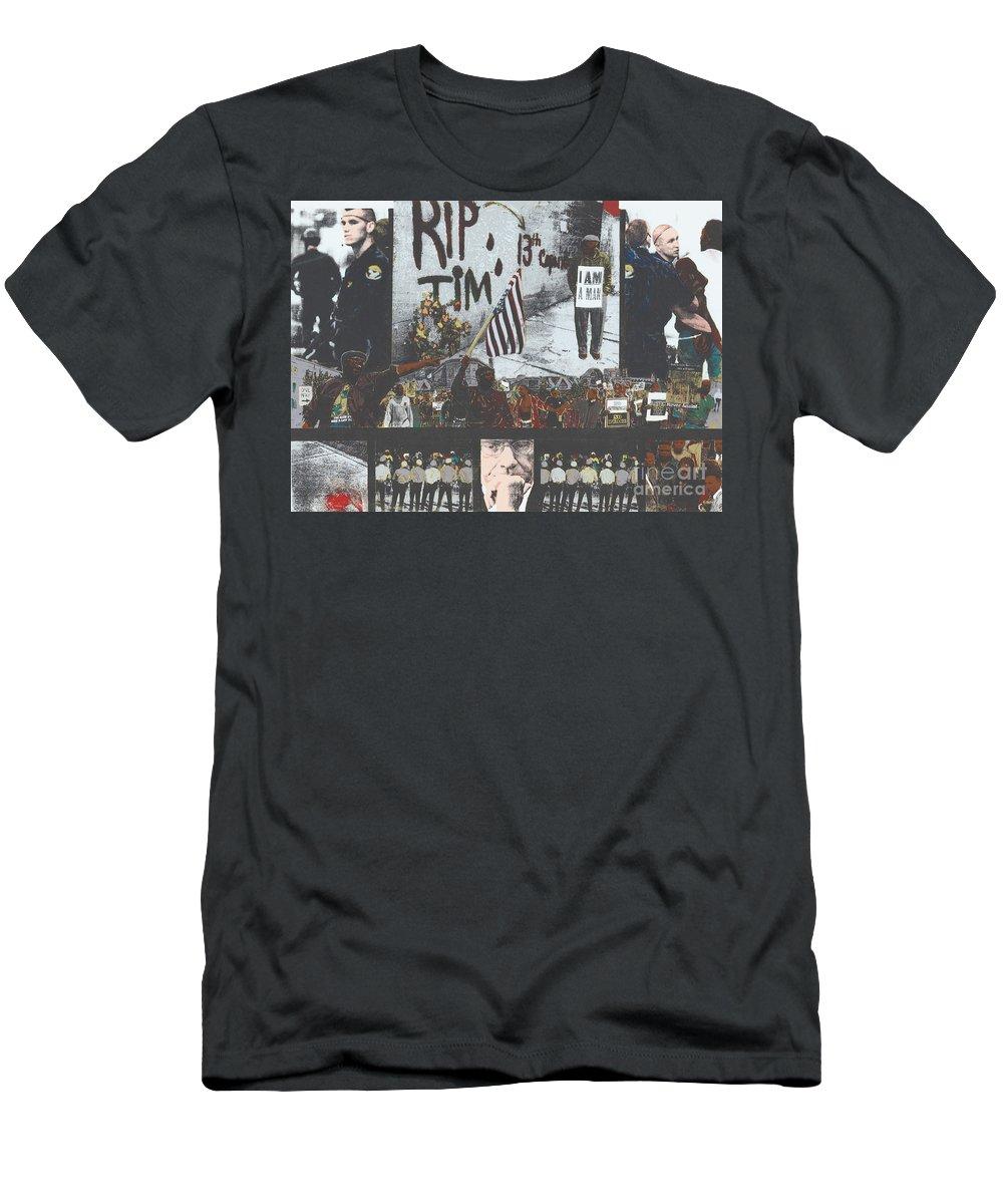 Cincinnati Men's T-Shirt (Athletic Fit) featuring the painting Curfewed by Harris Wiltsher