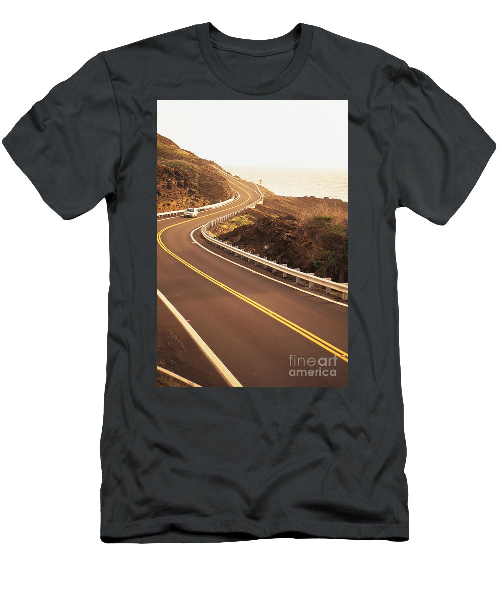 Afternoon Men's T-Shirt (Athletic Fit) featuring the photograph Curvy Oahu Road by Dana Edmunds - Printscapes