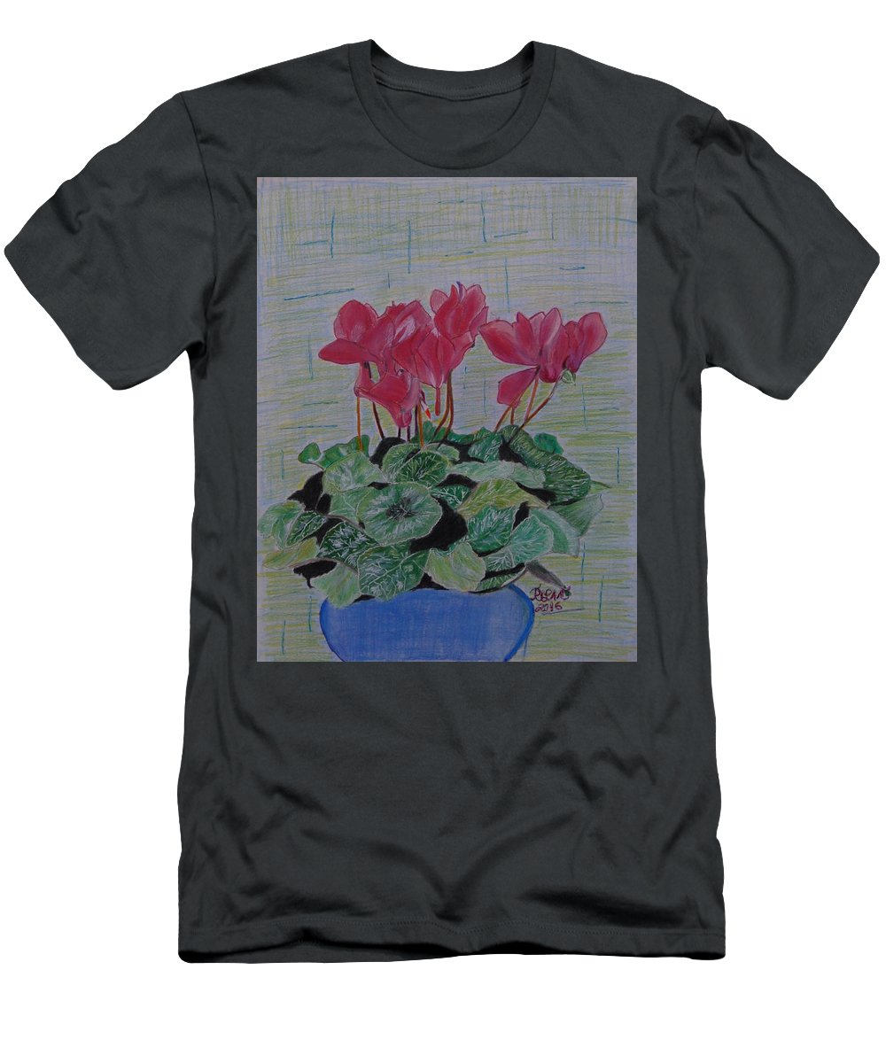 Flower Men's T-Shirt (Athletic Fit) featuring the drawing Cyclamen by Rita Lulay Malsch