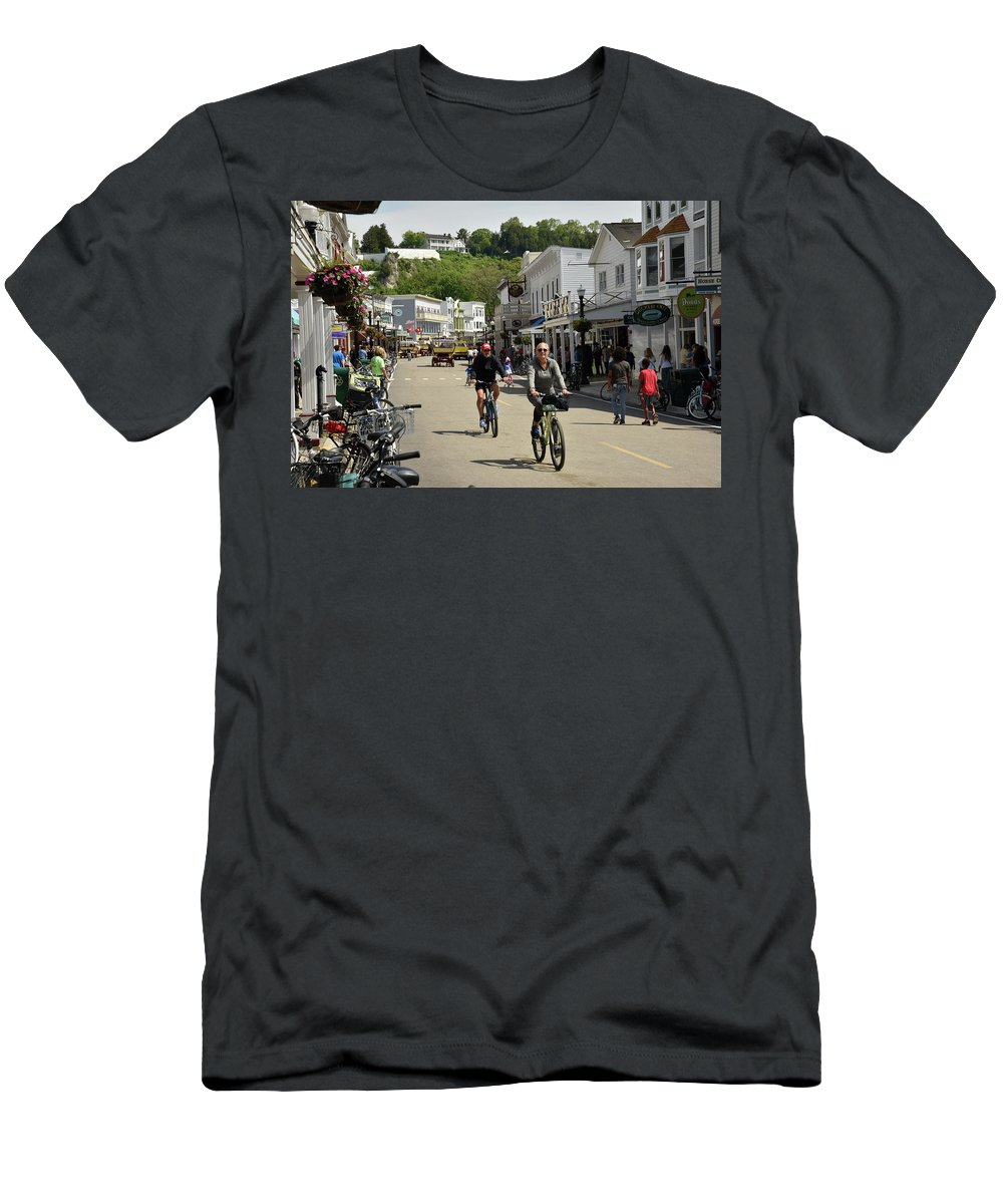 Machinaw Island Michigan Men's T-Shirt (Athletic Fit) featuring the photograph Cycling The Island by Debra Wales