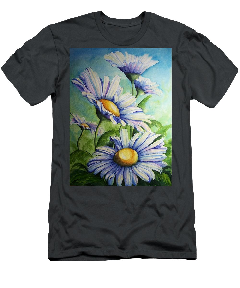 Floral Men's T-Shirt (Athletic Fit) featuring the painting Daisy Blue by Conni Reinecke