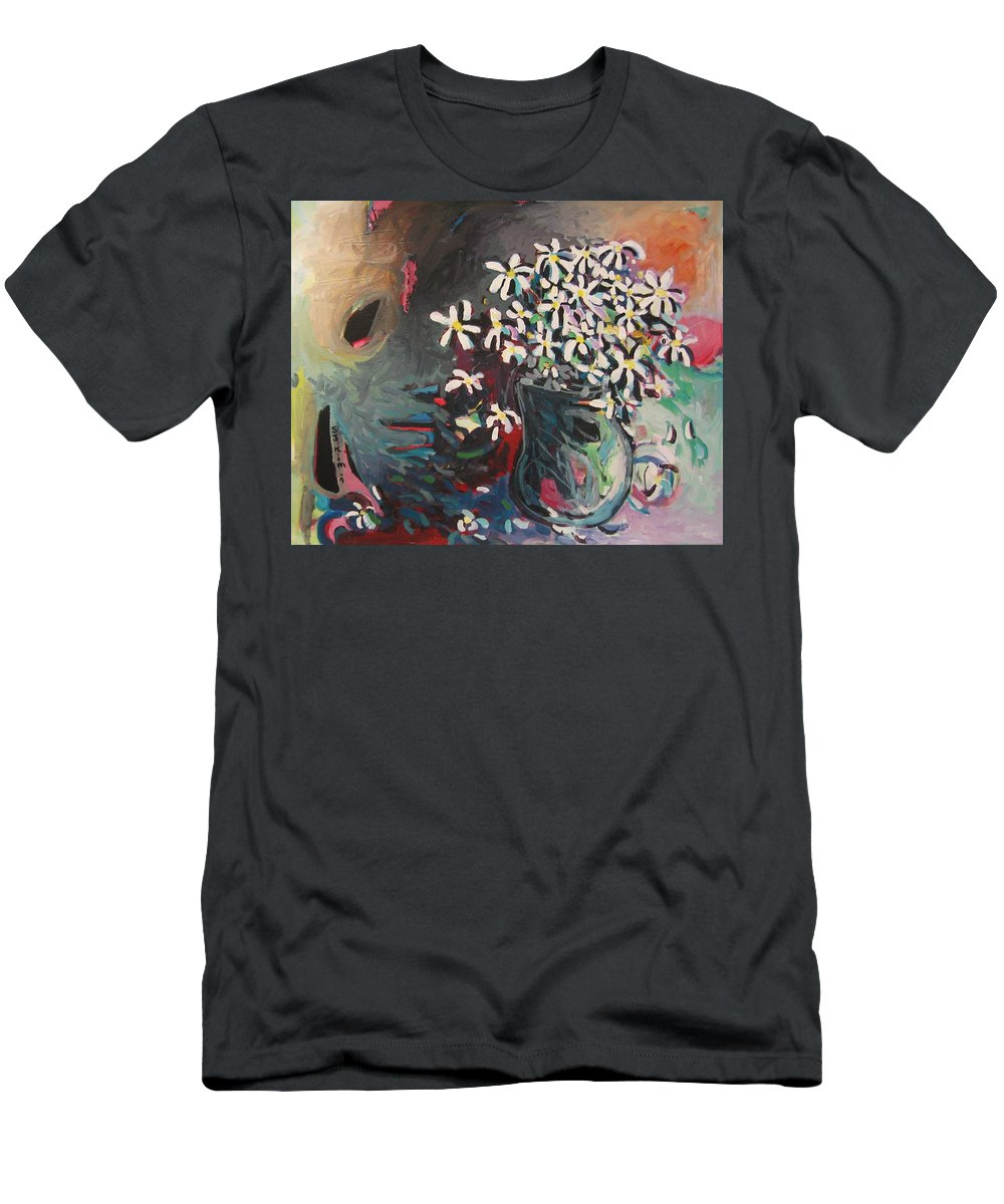 Daisy Paintings Men's T-Shirt (Athletic Fit) featuring the painting Daisy In Vase by Seon-Jeong Kim