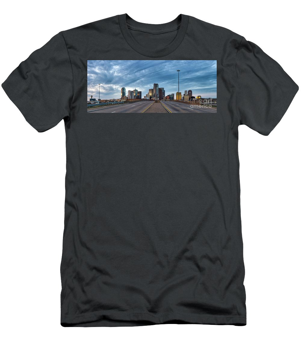Dallas Men's T-Shirt (Athletic Fit) featuring the photograph Dallas View At Dusk by Tod and Cynthia Grubbs