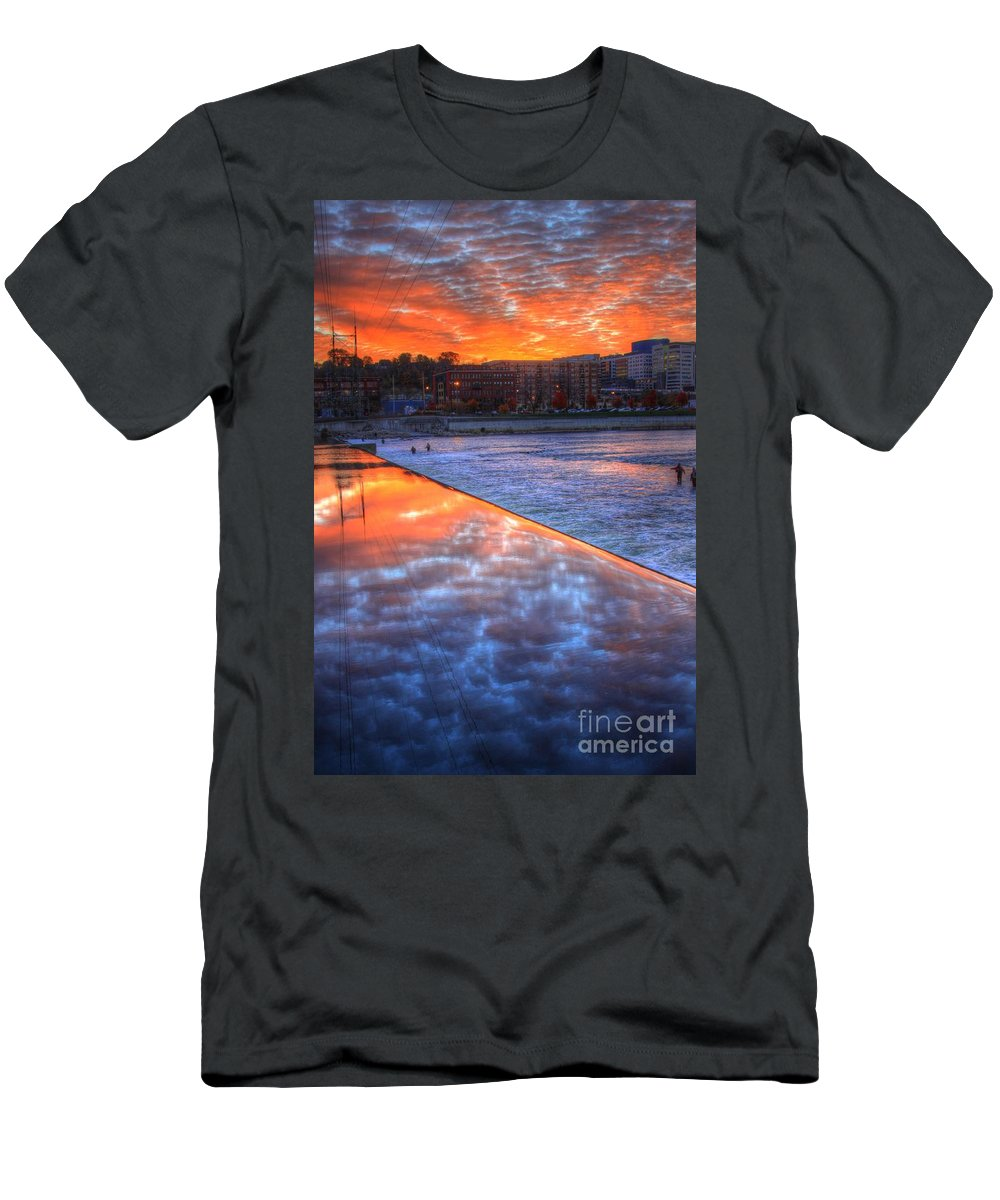 City Men's T-Shirt (Athletic Fit) featuring the photograph Dam Reflection by Robert Pearson