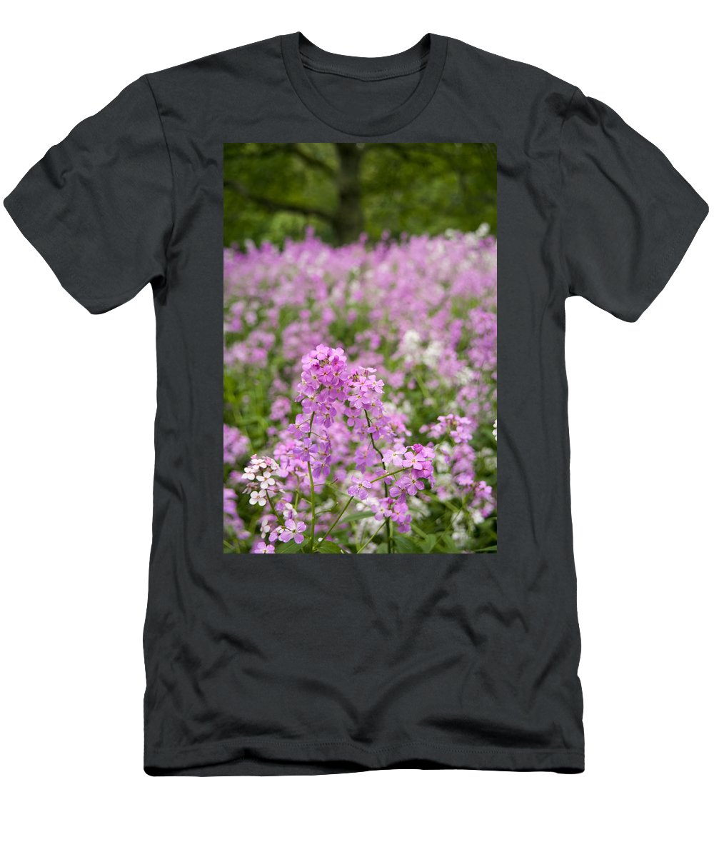 Men's T-Shirt (Athletic Fit) featuring the photograph Dame's Rocket Wildflowers And Oak Tree by Irwin Barrett