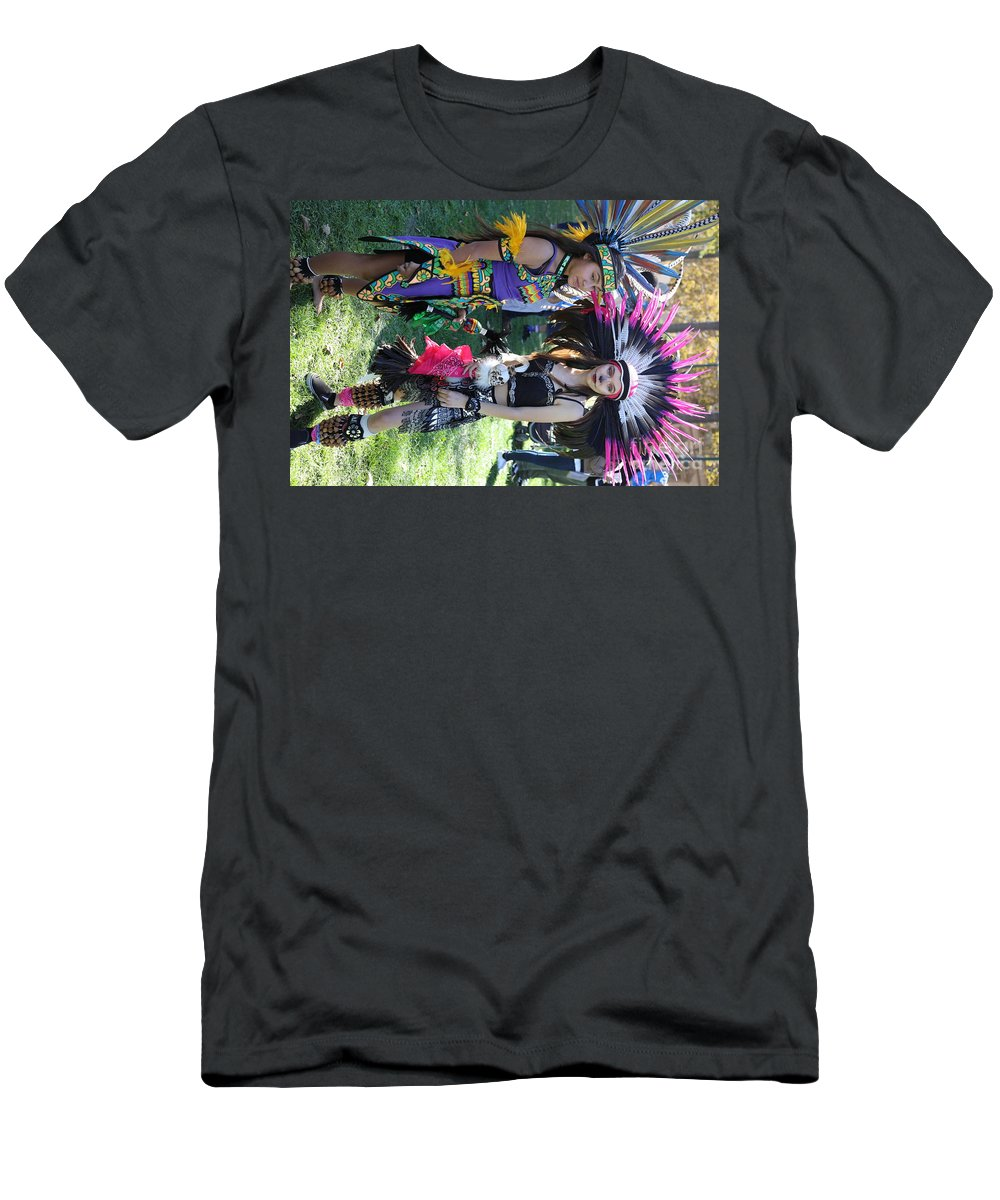 Dia De Los Muertos Men's T-Shirt (Athletic Fit) featuring the photograph Dancers Day Of The Dead by Chuck Kuhn