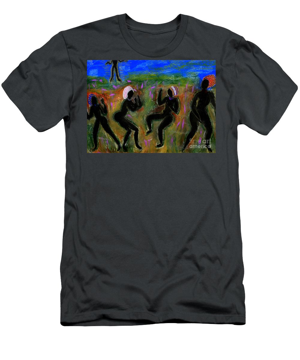Oil Men's T-Shirt (Athletic Fit) featuring the painting Dancing A Deliverance Prayer by Angela L Walker