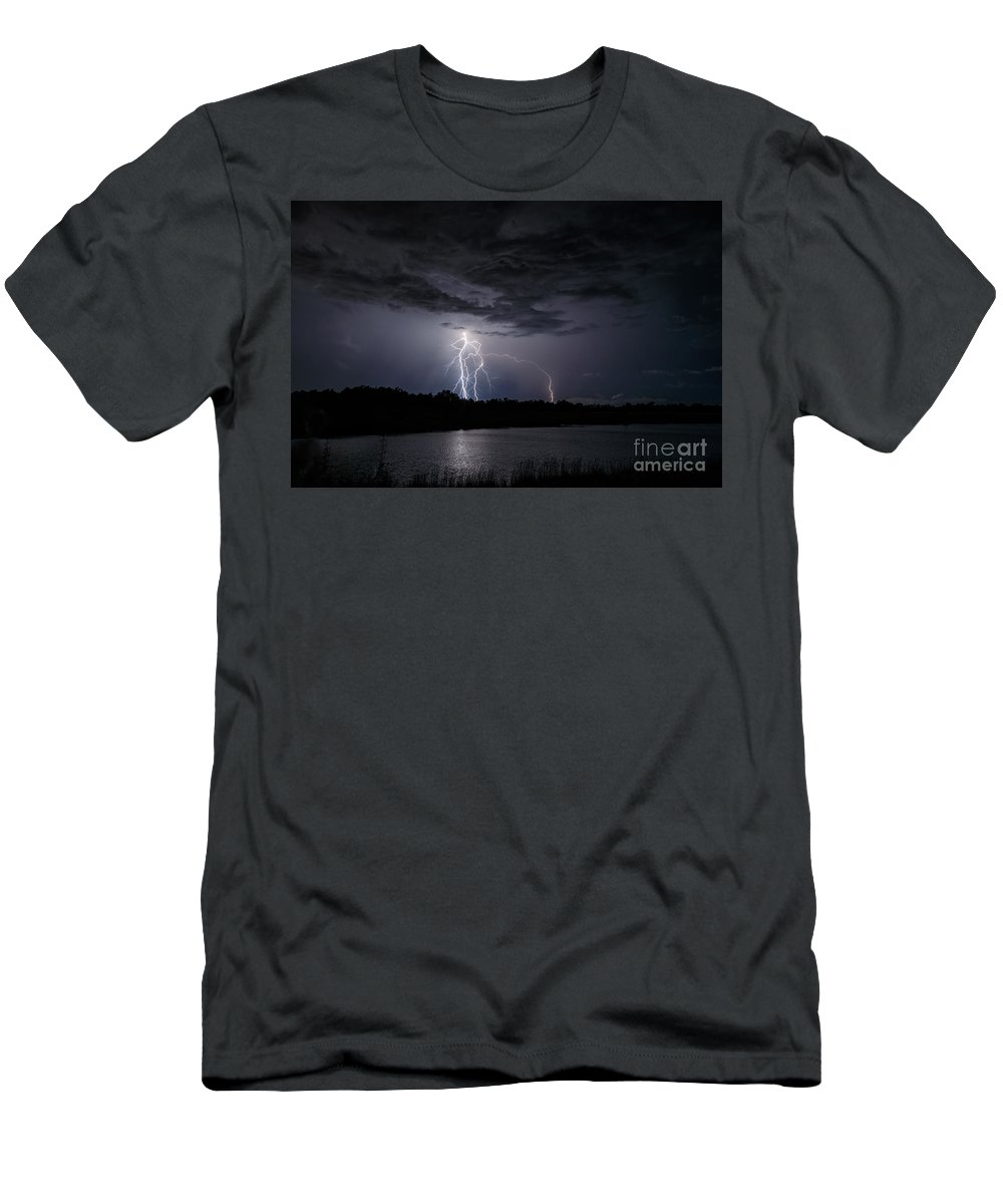 Lightning Men's T-Shirt (Athletic Fit) featuring the photograph Dancing Man Lightning by Andrea Kappler