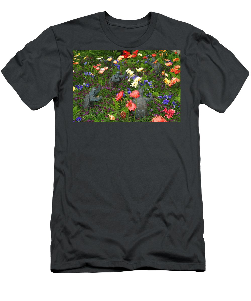 Turtles Statute Flowers Plants Joyous Daisy Gerber Daisy Green Photography Photograph Art Digital Men's T-Shirt (Athletic Fit) featuring the photograph Dancing Turtles by Shari Jardina
