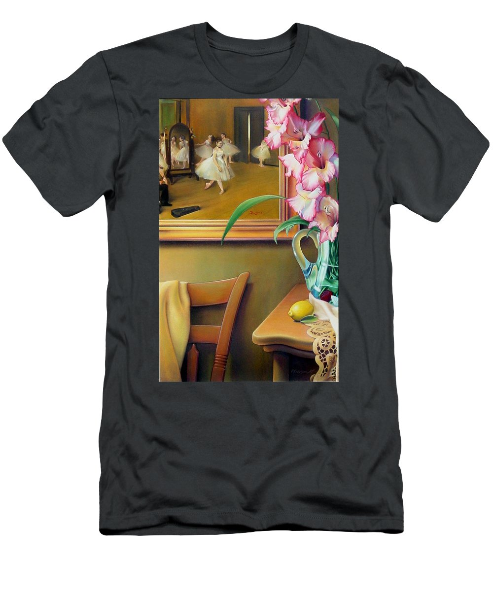 Degas Men's T-Shirt (Athletic Fit) featuring the drawing Dancing With Glads by Patrick Anthony Pierson