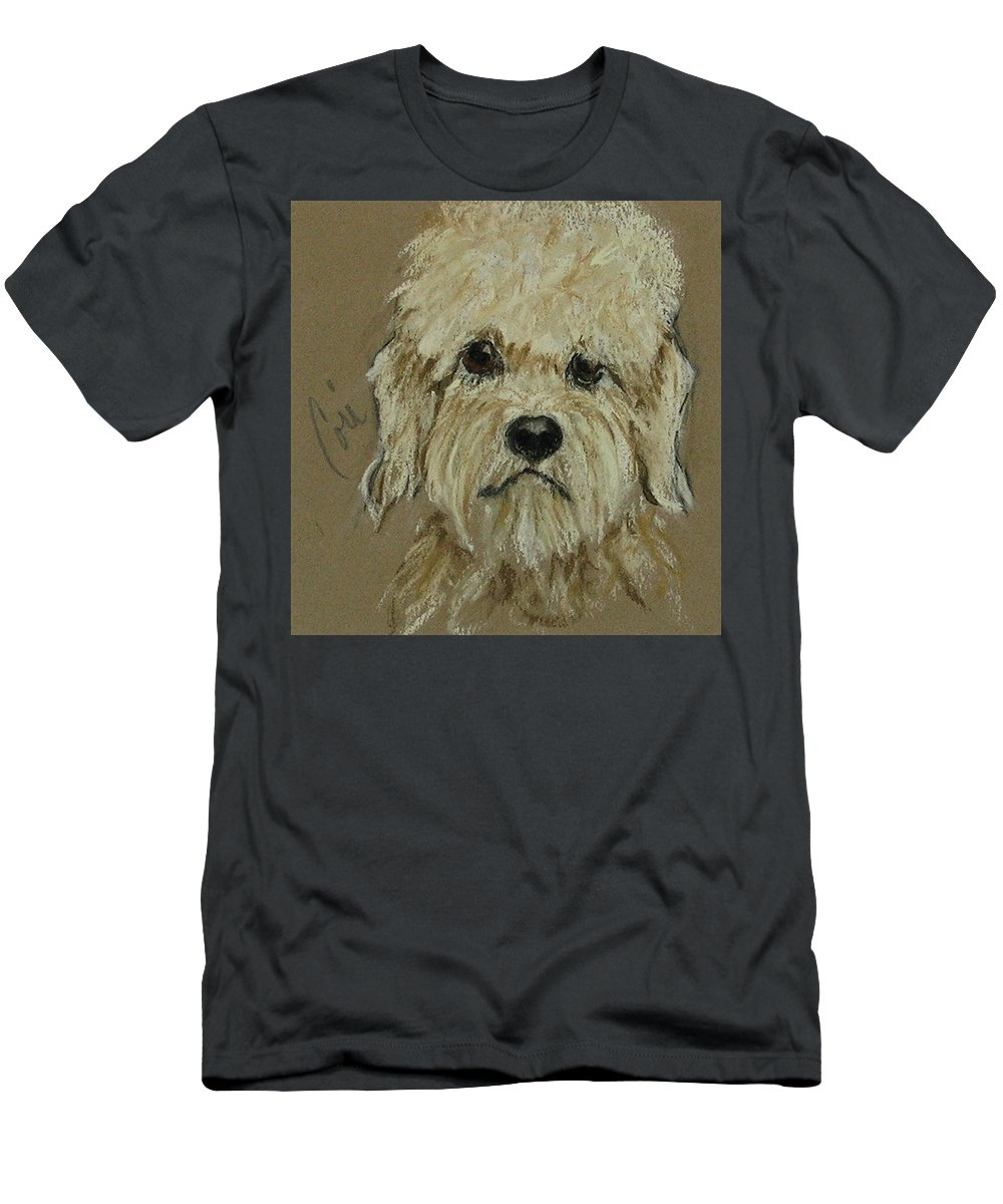 Dandie Dinmont Terrier Men's T-Shirt (Athletic Fit) featuring the drawing Dandie by Cori Solomon