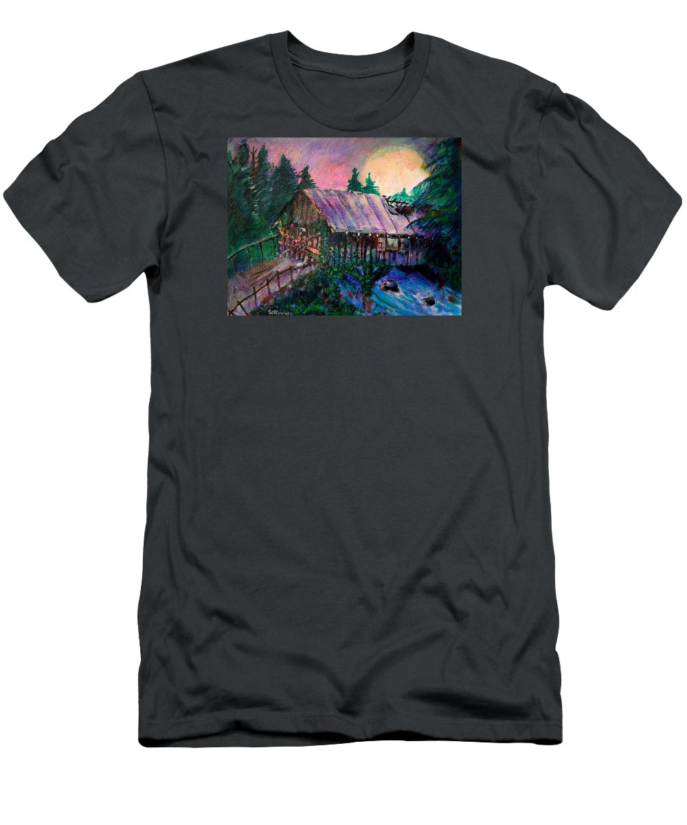 Dangerous Bridge T-Shirt featuring the painting Dangerous Bridge by Seth Weaver