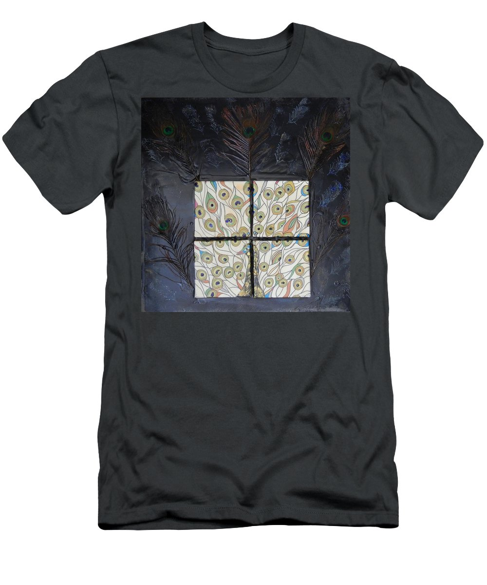Peacock Men's T-Shirt (Athletic Fit) featuring the mixed media Dare To Be Different I Peacock by Kruti Shah