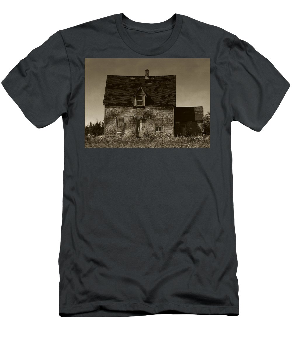 Old House Men's T-Shirt (Athletic Fit) featuring the photograph Dark Day On Lonely Street by RC DeWinter