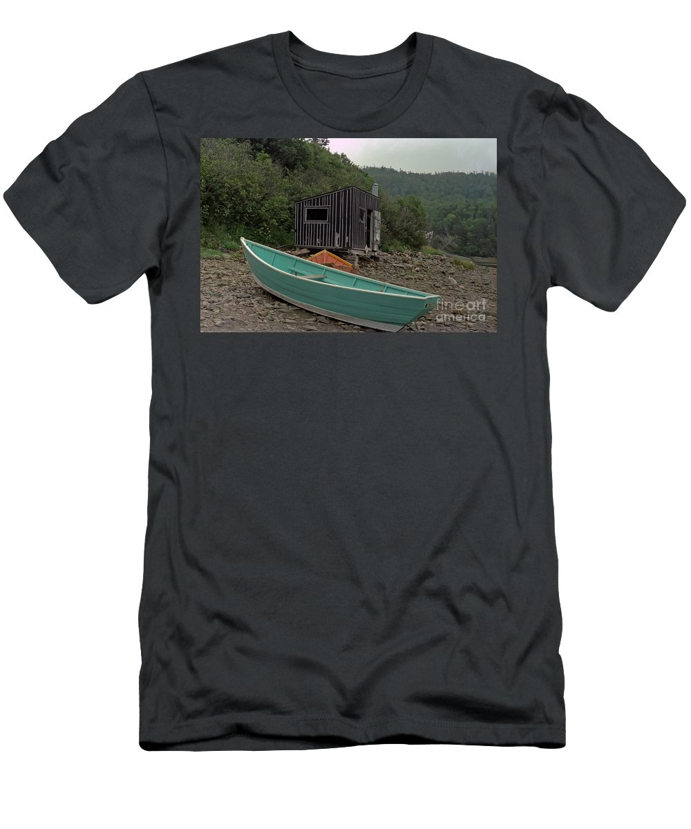 Fisherman Men's T-Shirt (Athletic Fit) featuring the photograph Dark Harbour Fisherman Shack And Boat by Thomas Marchessault