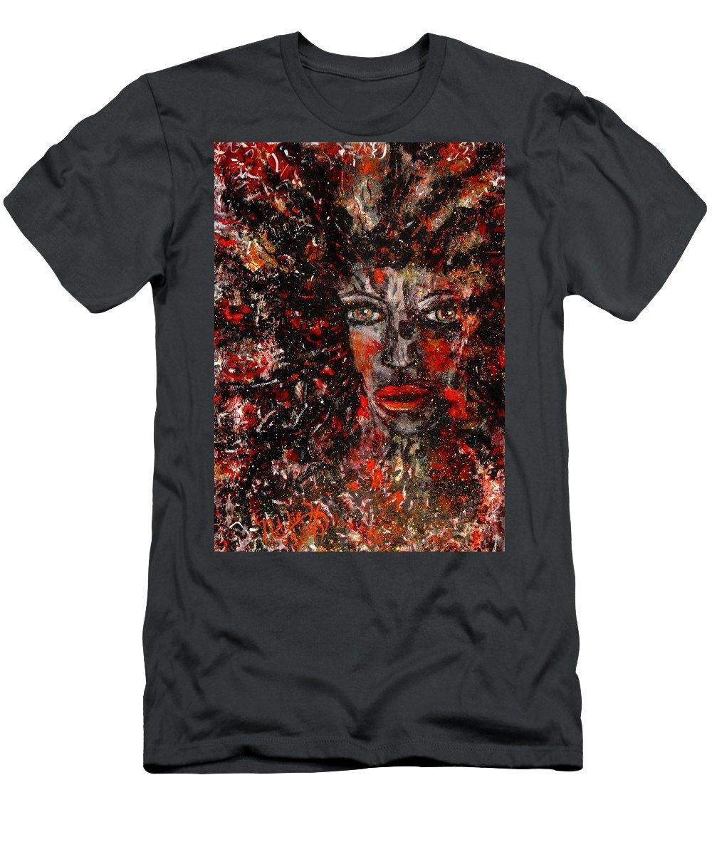 Dark Spirit Men's T-Shirt (Athletic Fit) featuring the painting Dark Spirit by Natalie Holland