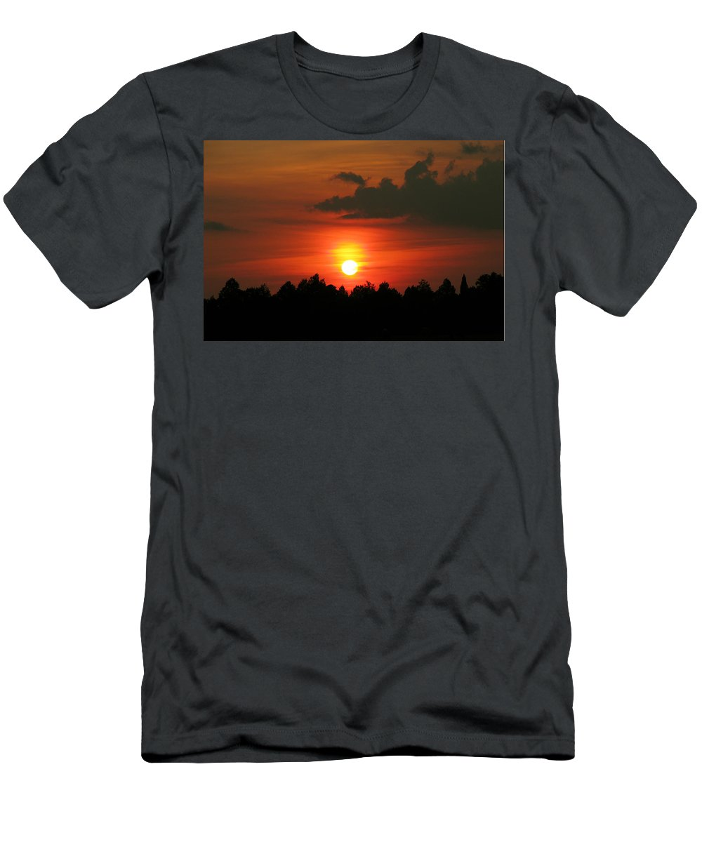 Nature Men's T-Shirt (Athletic Fit) featuring the photograph Dark Sunset by Peg Urban