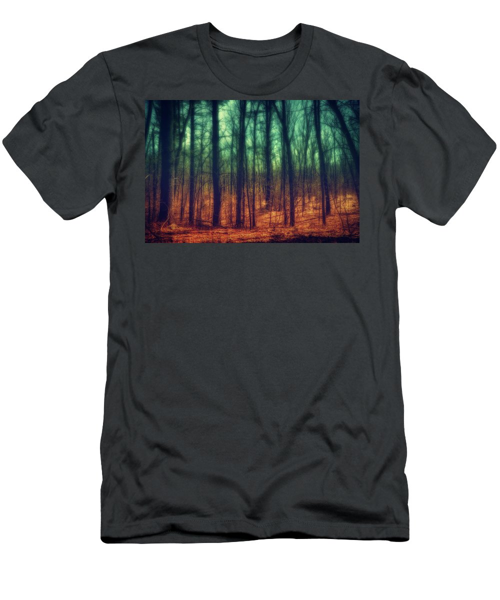 Woods Men's T-Shirt (Athletic Fit) featuring the photograph Dark Woods by Lilia D