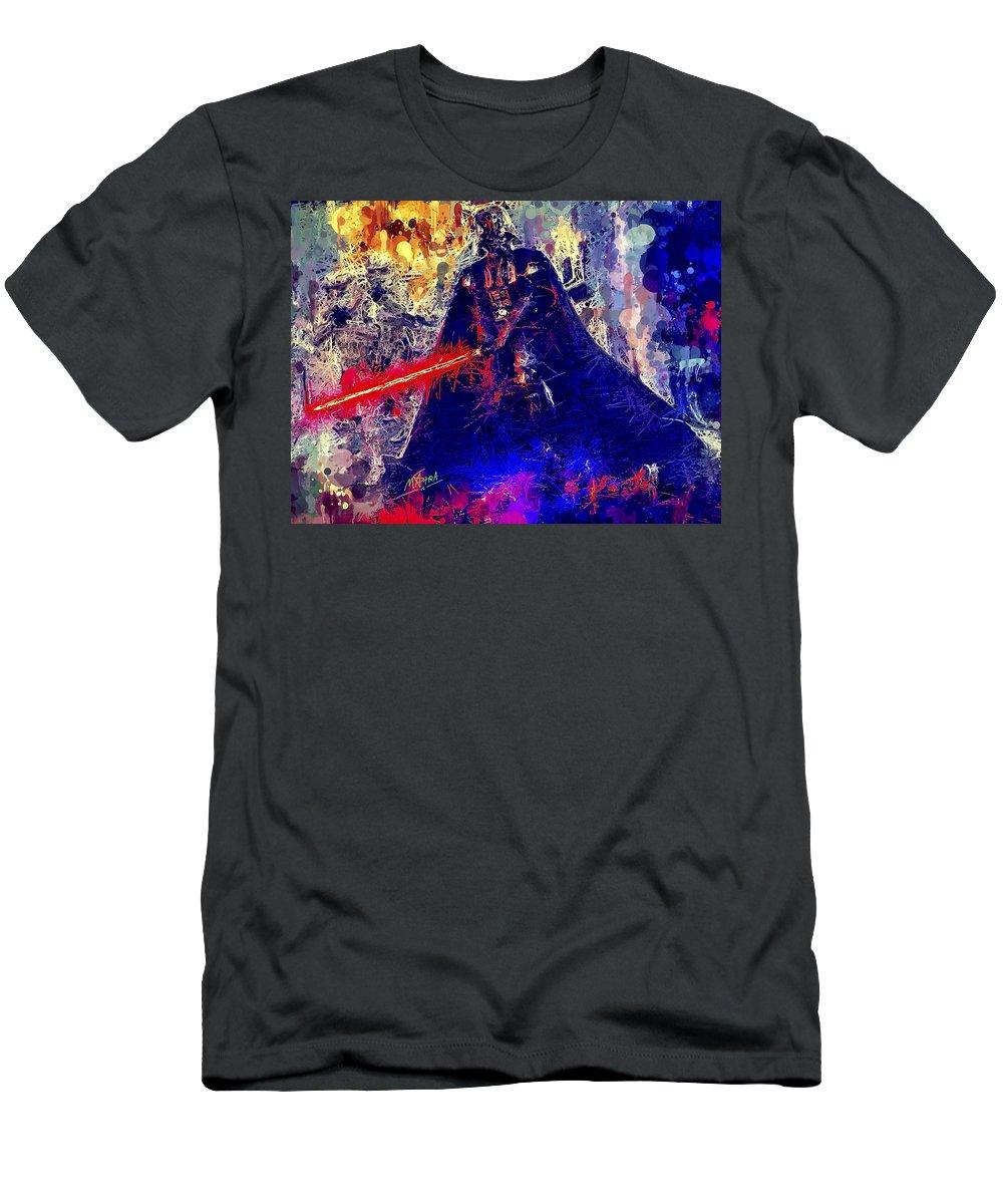 Star Wars Men's T-Shirt (Athletic Fit) featuring the mixed media Darth Vader by Al Matra