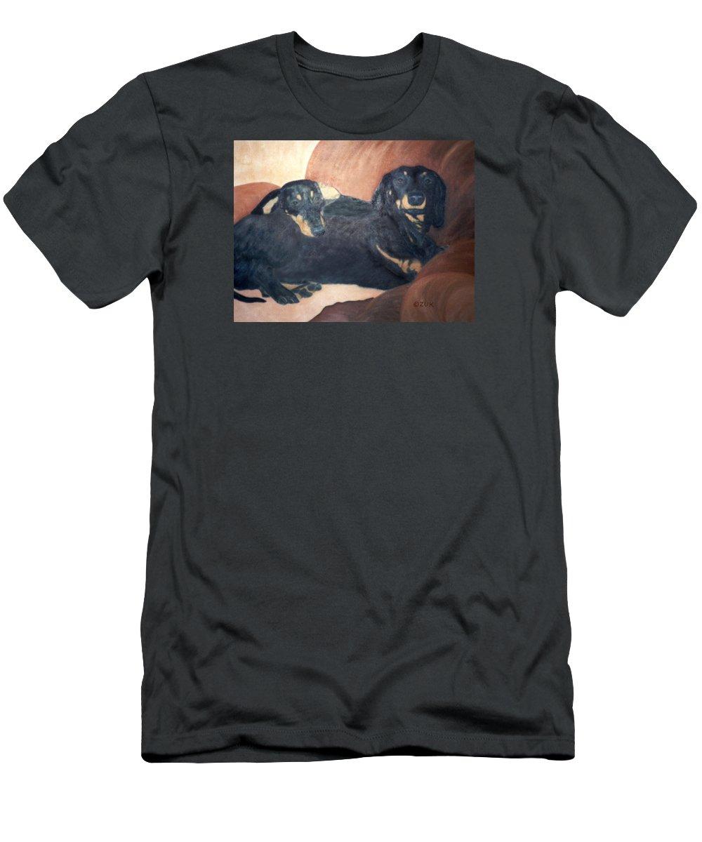 Karen Zuk Rosenblatt Art And Photography T-Shirt featuring the painting Daschounds by Karen Zuk Rosenblatt