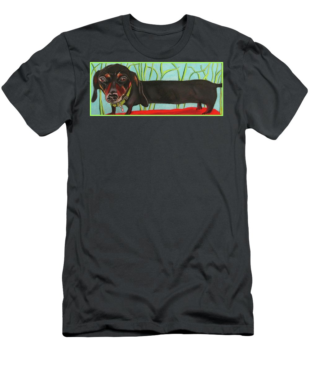 Dog Painting Men's T-Shirt (Athletic Fit) featuring the pastel Dash Hound by Michelle Hayden-Marsan