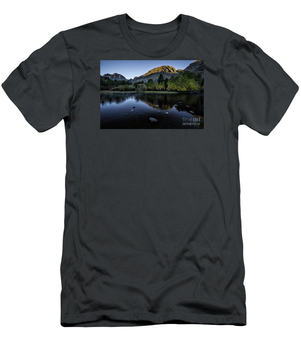Rush Creek Men's T-Shirt (Athletic Fit) featuring the photograph Dawn At Rush Creek 3 by Timothy Hacker