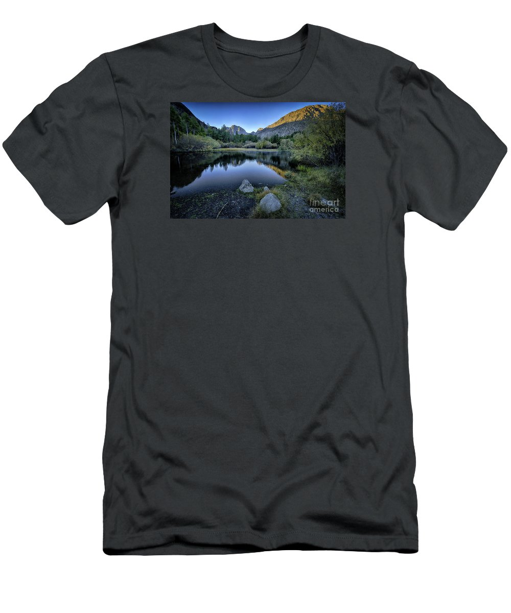 Rush Creek Men's T-Shirt (Athletic Fit) featuring the photograph Dawn At Rush Creek 4 by Timothy Hacker