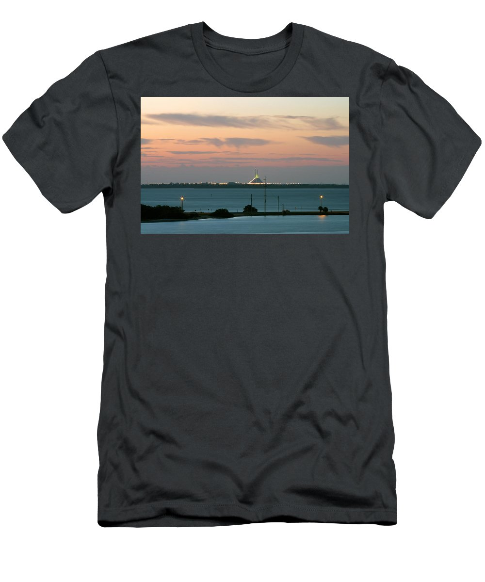 Sunshine Men's T-Shirt (Athletic Fit) featuring the photograph Dawn At The Sunshine Skyway Bridge Viewed From Tierra Verde Florida by Mal Bray