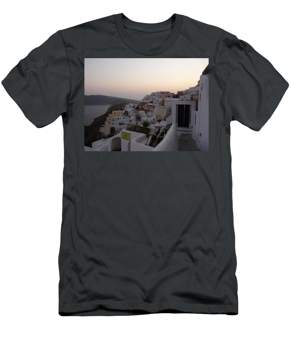 Landscape Men's T-Shirt (Athletic Fit) featuring the photograph Dawn In Oia Santorini Greece by Valerie Ornstein