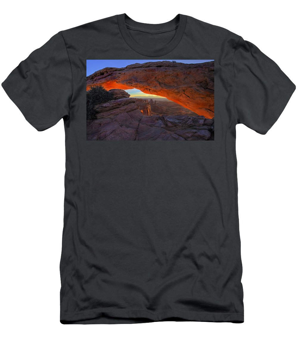 Mesa Arch Men's T-Shirt (Athletic Fit) featuring the photograph Dawns Early Light by Mike Dawson
