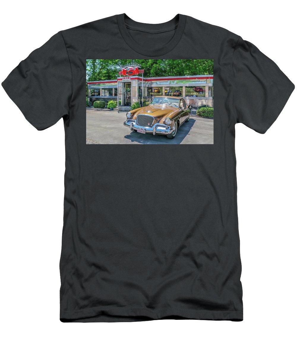 Diner Men's T-Shirt (Athletic Fit) featuring the photograph Day At The Diner by Sandra Burm