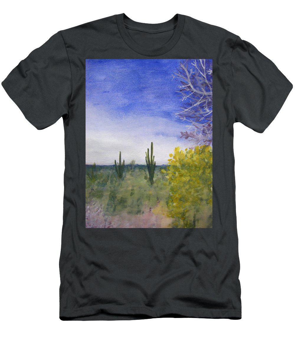 Arid Men's T-Shirt (Athletic Fit) featuring the painting Day In Arizona Desert by Lee Serenethos