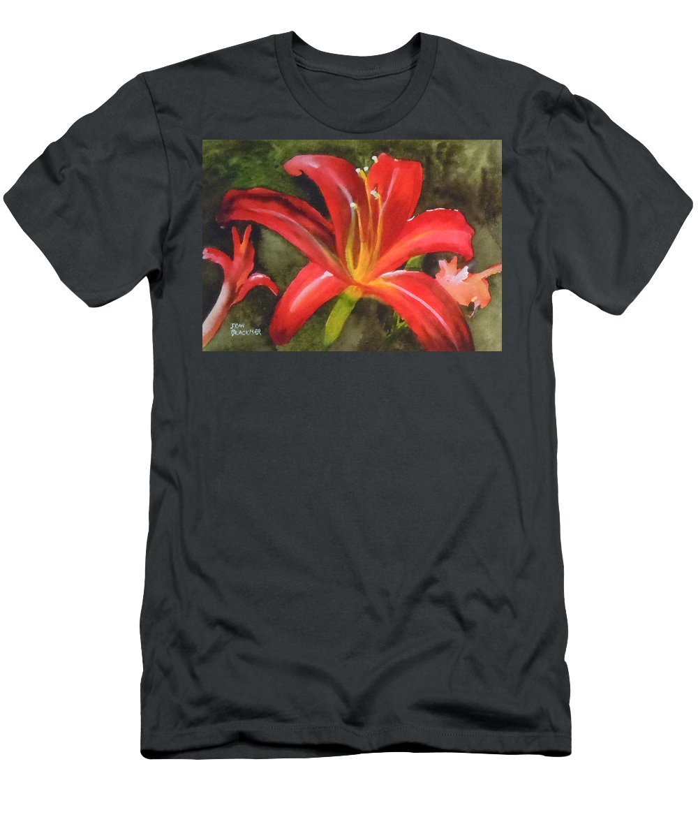 Red T-Shirt featuring the painting Daylily Study IV by Jean Blackmer