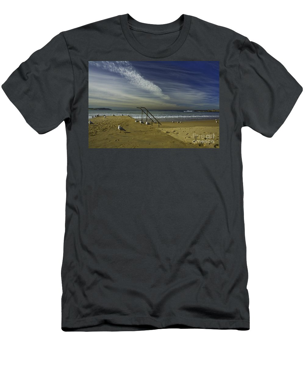 Beach Men's T-Shirt (Athletic Fit) featuring the photograph Dee Why Beach Sydney by Sheila Smart Fine Art Photography