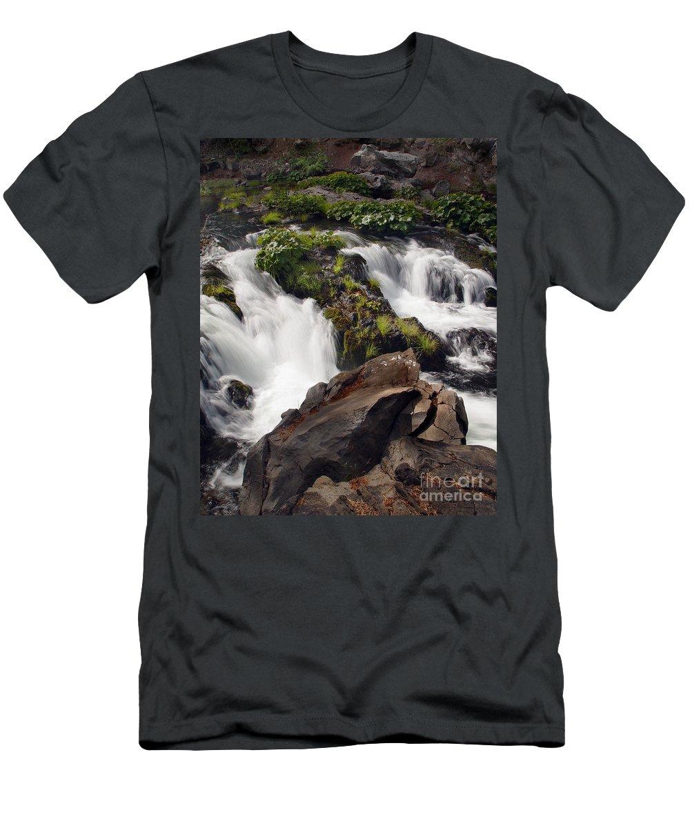 Creek Men's T-Shirt (Athletic Fit) featuring the photograph Deer Creek 12 by Peter Piatt